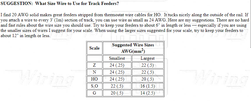 main dcc track bus wire size recommendations: